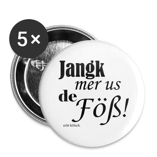 Jang mer us de Föß! - Buttons groß 56 mm (5er Pack)