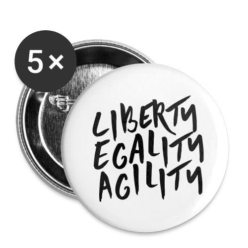Liberty Egality Agility - Tote Bag - Lot de 5 grands badges (56 mm)