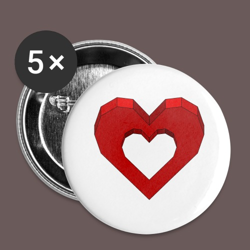 Heart Illusion - Buttons/Badges stor, 56 mm (5-pack)