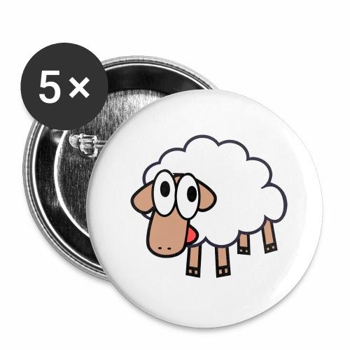 Sheep Cartoon - Buttons groot 56 mm (5-pack)