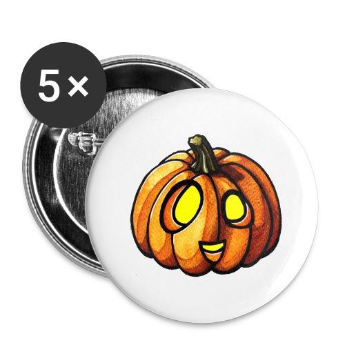 Pumpkin Halloween watercolor scribblesirii - Buttons/Badges stor, 56 mm (5-pack)