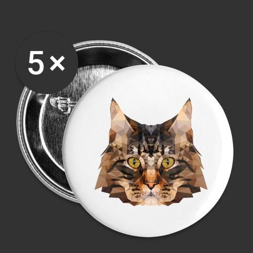 Chat LowPoly - Lot de 5 grands badges (56 mm)