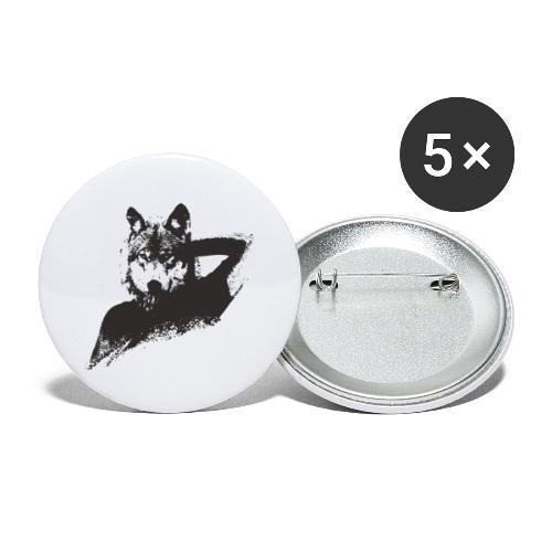illustration zoom loup noir - Lot de 5 grands badges (56 mm)
