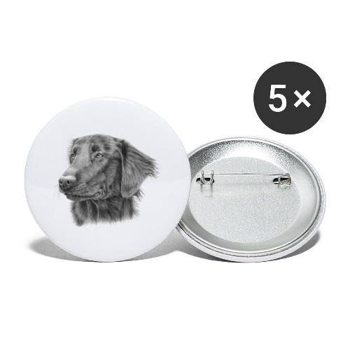 flatcoated retriever bw - Buttons/Badges stor, 56 mm (5-pack)