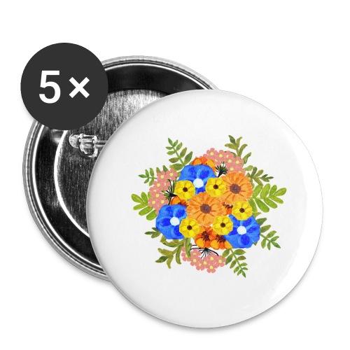 Blue Flower Arragement - Buttons large 2.2''/56 mm(5-pack)