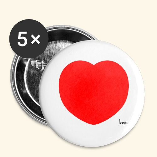 Heart - Buttons groß 56 mm (5er Pack)