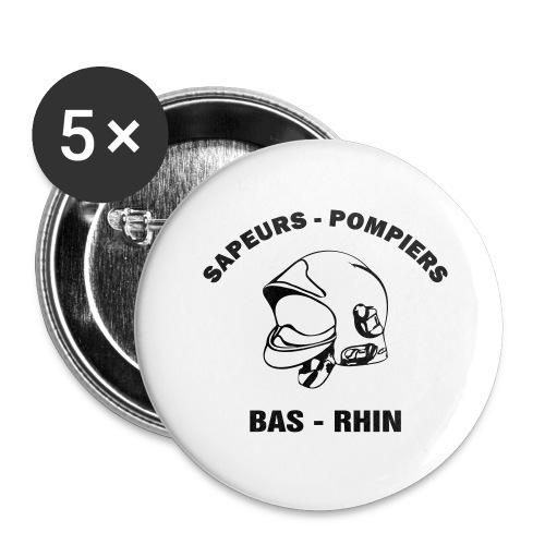 NOUVEAU ! Tee Shirt Sapeurs - Pompiers Bas - Rhin - Lot de 5 grands badges (56 mm)