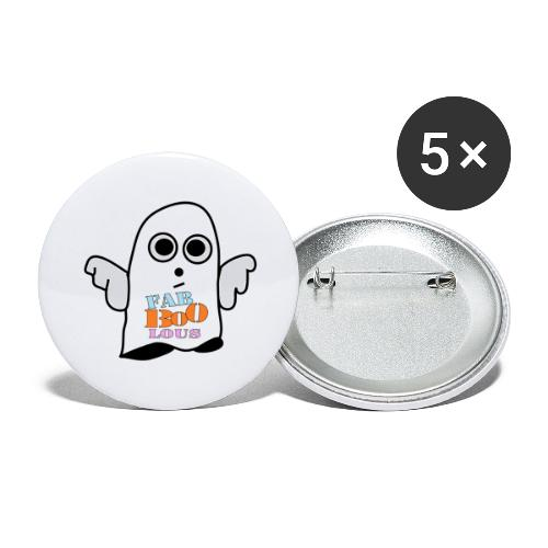 Halloween Geist BOO - Buttons groß 56 mm (5er Pack)
