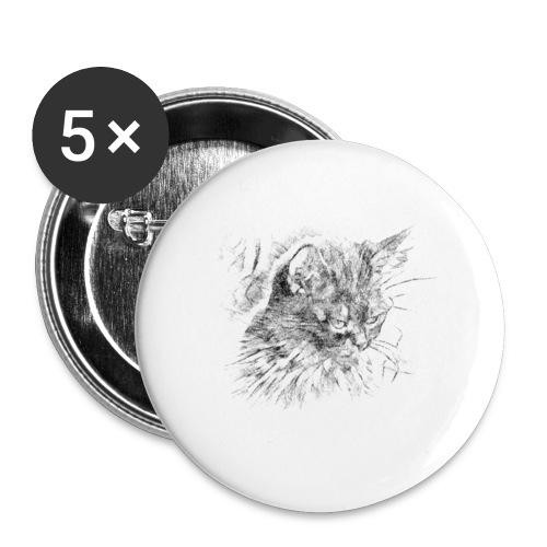 chat triste - Lot de 5 grands badges (56 mm)