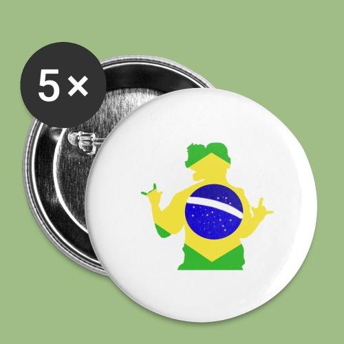 Ronaldinho Brazil - Stora knappar 56 mm (5-pack)