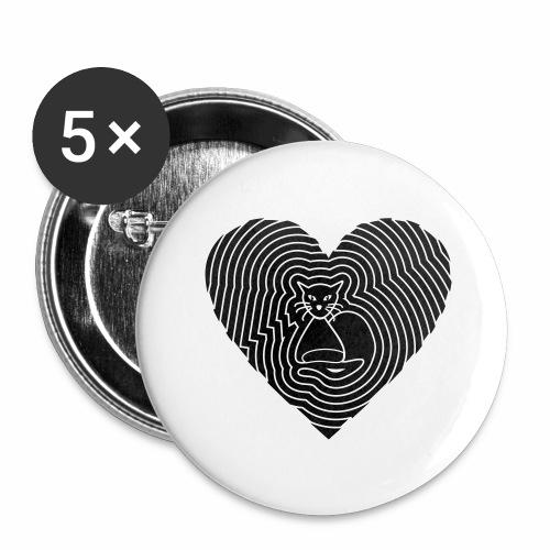 Katzen Spirale Herz - Buttons groß 56 mm (5er Pack)
