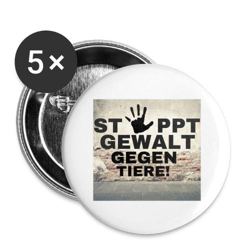 Stoppt Gewalt gegen Tiere - Buttons groß 56 mm (5er Pack)