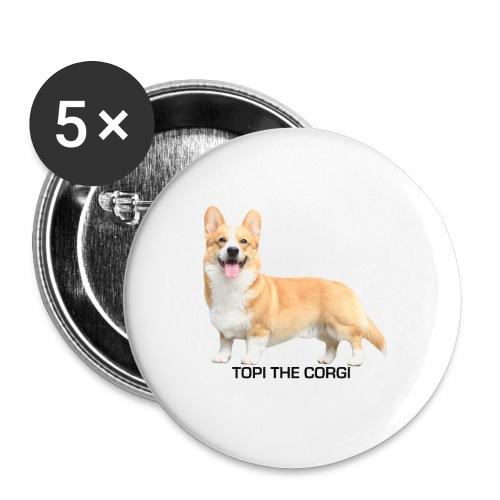 Topi the Corgi - Black text - Buttons large 2.2''/56 mm(5-pack)