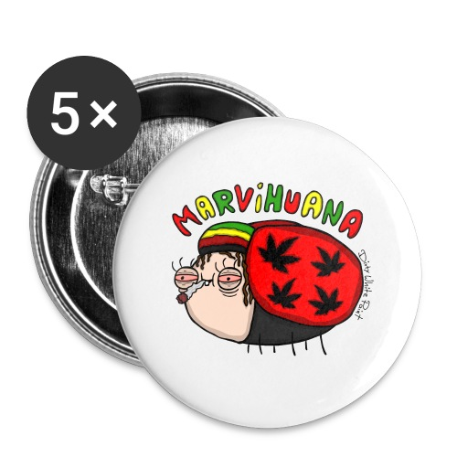 Marvihuana - Buttons groß 56 mm (5er Pack)