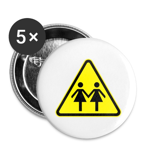ACHTUNG LESBEN POWER! Motiv für lesbische Frauen - Buttons groß 56 mm (5er Pack)