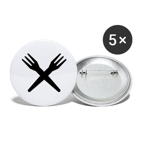 gekruiste frietvorken - trident - Lot de 5 grands badges (56 mm)