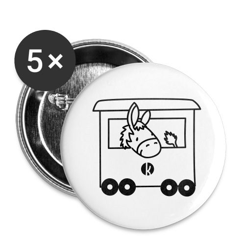 Esel Transport - Donkey Transport - Buttons groß 56 mm (5er Pack)