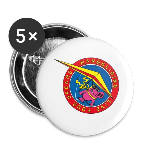hanggliding pig - Buttons large 2.2''/56 mm(5-pack)