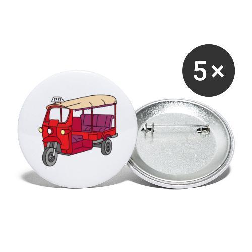 Rote Autorikscha, Tuk-tuk - Buttons groß 56 mm (5er Pack)