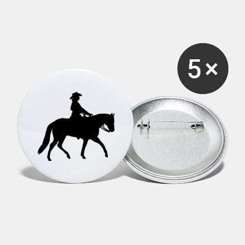 Ranch Riding Silhouette Westernreiterin - Buttons groß 56 mm (5er Pack)