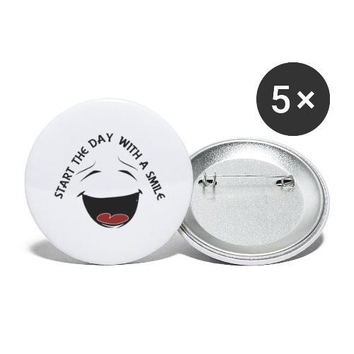 Zacznij dzień z uśmiechem - Przypinka duża 56 mm (pakiet 5 szt.)