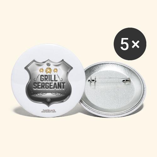 Grill T Shirt Grill Sergeant Design für Griller - Buttons groß 56 mm (5er Pack)