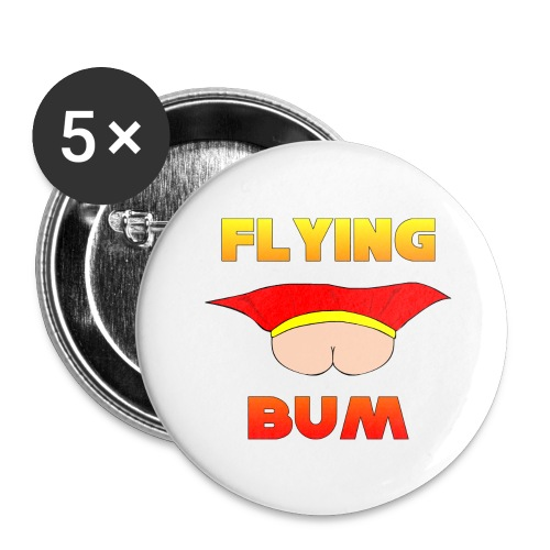 Flying Bum (face on) with text - Buttons large 2.2''/56 mm(5-pack)