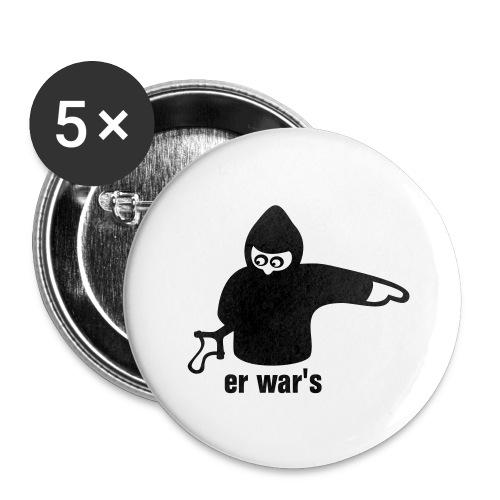 er war's - rechts - Buttons groß 56 mm (5er Pack)