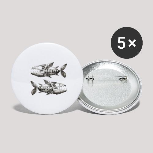 FishEtching - Buttons large 2.2''/56 mm (5-pack)