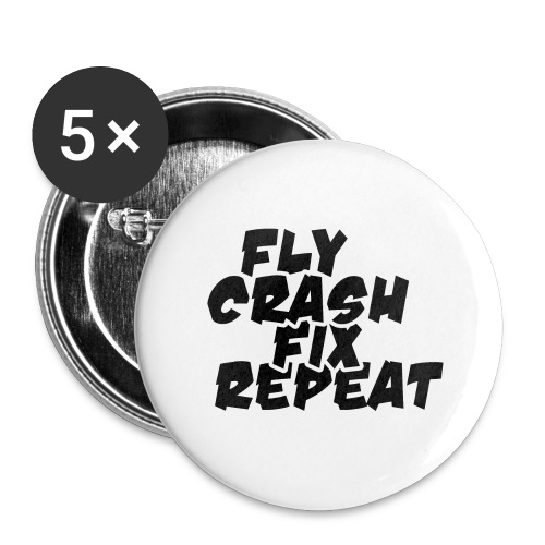FlyCrashFixRepeat signed - Buttons large 2.2''/56 mm (5-pack)