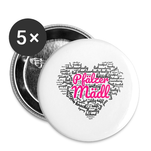 Herzl: Pfälzer Mädl - Buttons groß 56 mm (5er Pack)