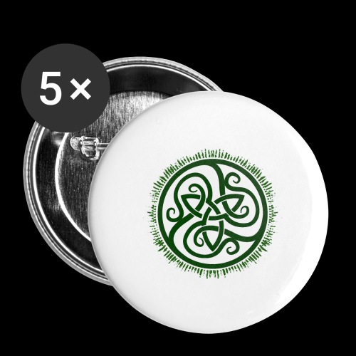 Green Celtic Triknot - Buttons large 2.2''/56 mm(5-pack)