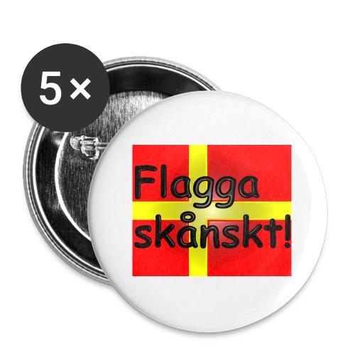 Flagga skånskt! - Stora knappar 56 mm (5-pack)