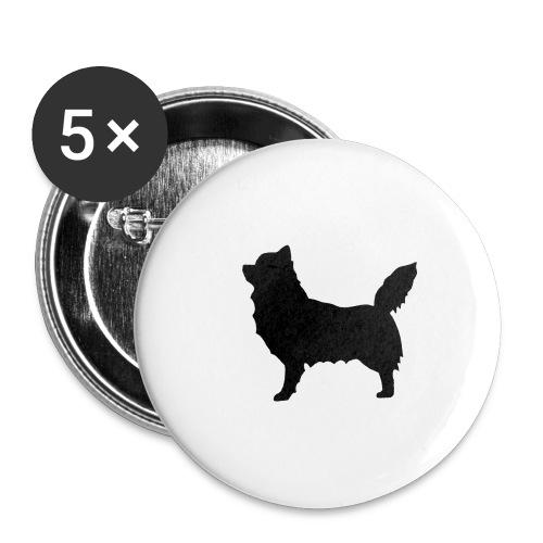 Chihuahua pitkakarva musta - Rintamerkit isot 56 mm (5kpl pakkauksessa)