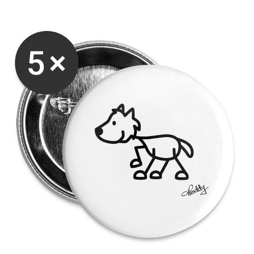 wolf - Buttons groß 56 mm (5er Pack)
