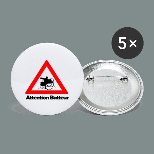Attention batteur - cadeau batterie humour - Lot de 5 grands badges (56 mm)