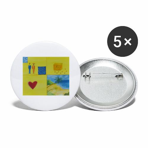 Viererwunsch - Buttons groß 56 mm (5er Pack)