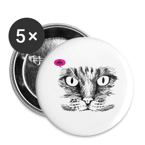 kattegezicht vdh - Buttons groot 56 mm (5-pack)