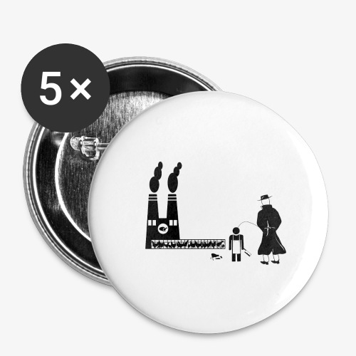 Pissing Man against animal mass slaughtering - Buttons groß 56 mm (5er Pack)