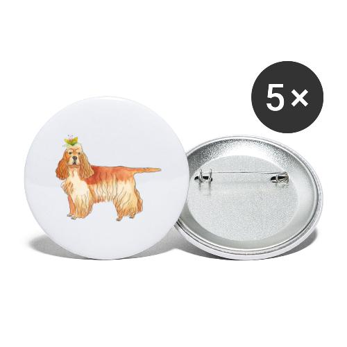 American cocker spaniel with flower - Buttons/Badges stor, 56 mm (5-pack)