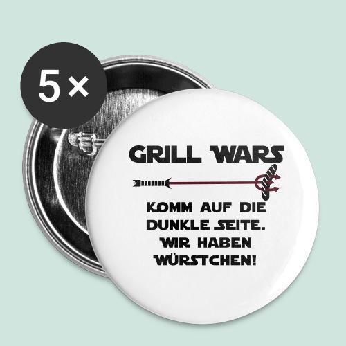 Grill wars komm auf die die dunkle Seite - Buttons groß 56 mm (5er Pack)
