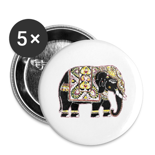 Indian elephant for luck - Buttons large 2.2''/56 mm(5-pack)