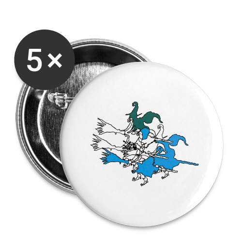 Witches on broomsticks Men's T-Shirt - Buttons large 2.2''/56 mm(5-pack)