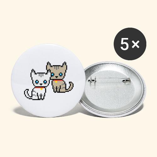 deux chats pixel - Lot de 5 grands badges (56 mm)