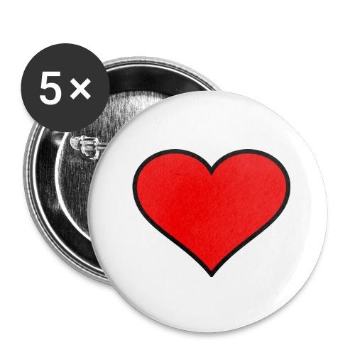 big heart clipart 3 - Stora knappar 56 mm (5-pack)