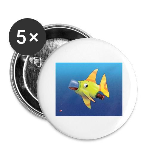 Greedy Fish - Lot de 5 grands badges (56 mm)