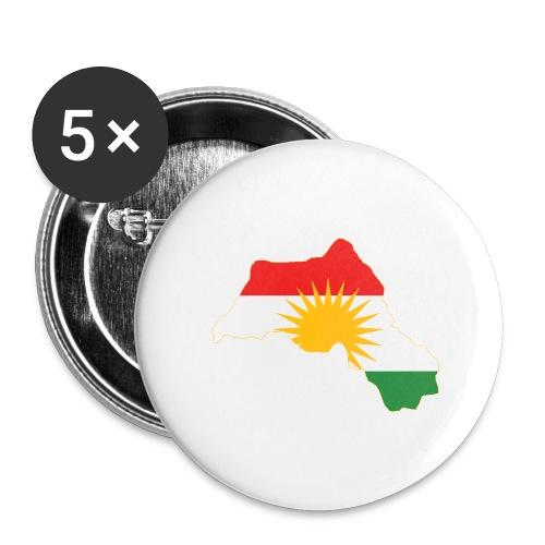Kurdistan Flag Map - Buttons groß 56 mm (5er Pack)