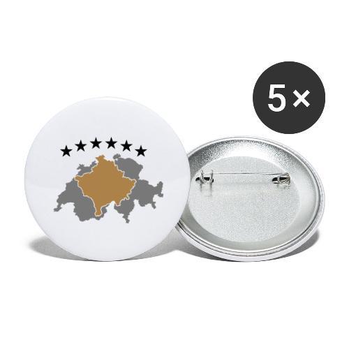 Kosovo Schweiz - Buttons groß 56 mm (5er Pack)