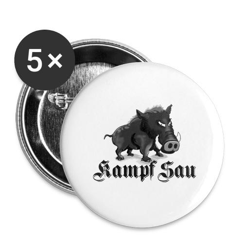 Kampfsau - Buttons groß 56 mm (5er Pack)