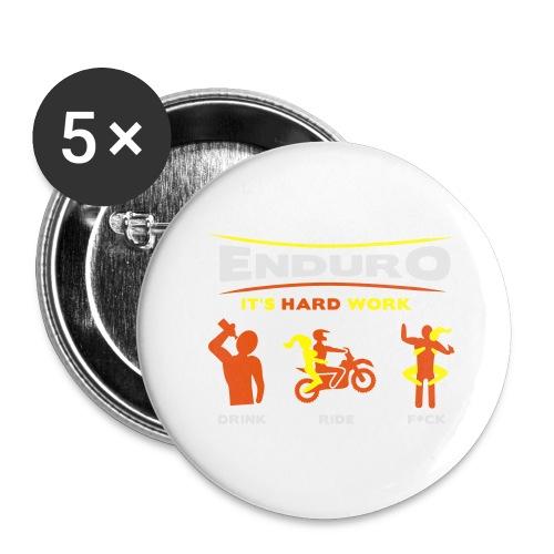 Enduro - It's hard work BlackShirt - Buttons groß 56 mm (5er Pack)